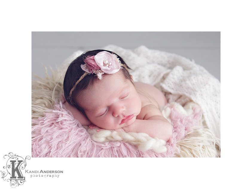 luneberry headband on newborn baby girl